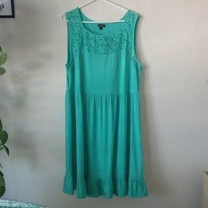 Torrid Lace inset skater dress Teal plus size 3x